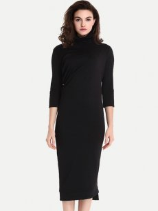 Womens Business Dress Black Work Business Office Pencil High Collar Solid Color Long Sleeve Knee Length Midi Dress