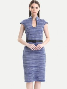Solid Striped Belted Work Pencil Dress