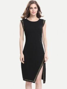 Solid Beads High Split Sleeveless Work Pencil Dress