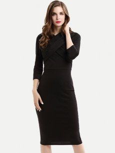 Womens Business Dress Black Work Office Pencil V Neck Bandage Long Sleeve Solid Color Knee Length Midi Dress