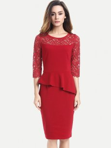 Womens Business Dress Work Office Pencil Ruffles Lace Solid Color Long Sleeve Knee Length Midi Dress