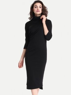 Black High Neck Office Work Pencil Dress