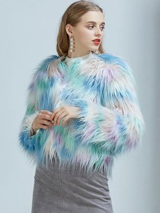 Vinfemass Thick Multicolor Faux Rabbit Fur Short Coat