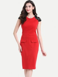 Solid Lace Sleeve Office Pencil Dress