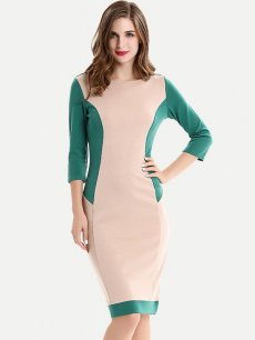 Color Block Cotton Work Pencil Dress