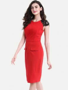 Womens Business Dress Work Office Pencil Lace Short Sleeve Fake Pockets Knee Length Midi Dress