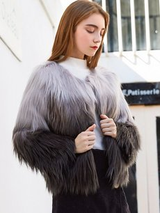 Vinfemass Thick Gradient Color Short Faux Rabbit Fur Coat