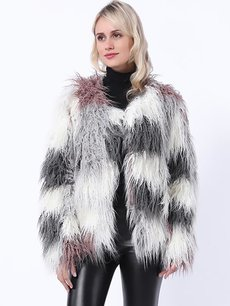 Vinfemass Thick Multicolor Faux Fox Fur Short Coat