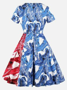 50s Leaves Color Block Swing Dress