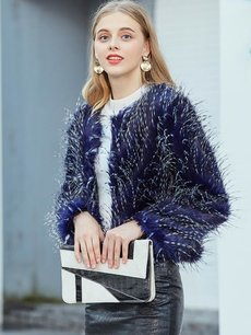 Vinfemass Blue Thick Faux Rabbit Fur Short Coat