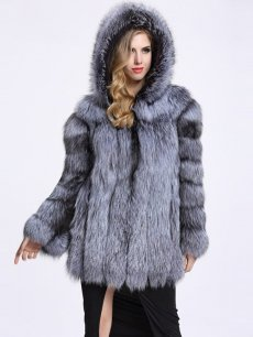 (Free Express Shipping)Vinfemass Solid Color Hooded Thick Loose Faux Fox Coat