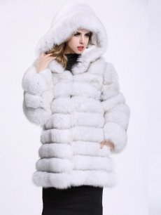(Free Express Shipping)Vinfemass Loose Thick Hooded Solid Color Faux Fox Fur Long Coat