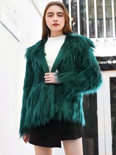 Solid Faux Fur Hooded Jacket
