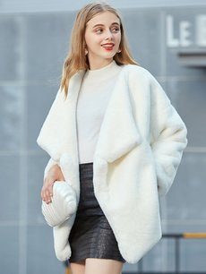 Open Front Faux Fur Teddy Coat