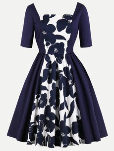 60s Style Floral Print Swing Dress