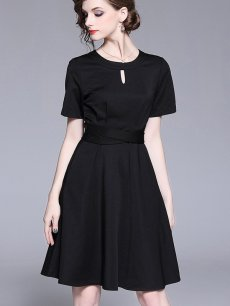 Vinfemass Retro Solid Color Slim Party Dress