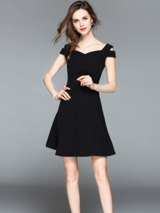 Vinfemass Elegant V-neck Off Shoulder Sleeveless Solid Party Dress