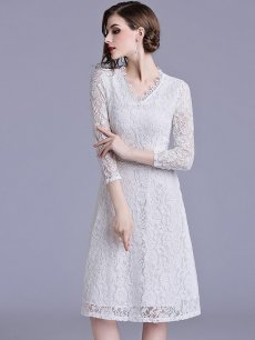 Vinfemass Solid Color V-neck Lace Party Dress