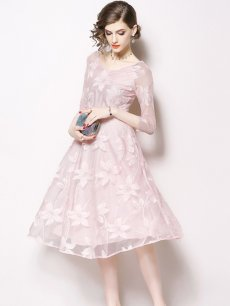 Vinfemass V-neck Lace Mesh Patchwork Party Dress