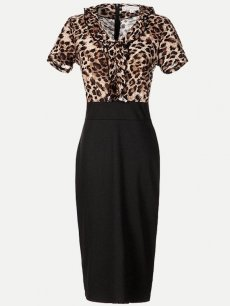 Leopard Print Bodycon Work Pencil Dress