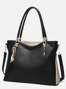 Solid Metal Fox Decor Tote Shoulder Bag