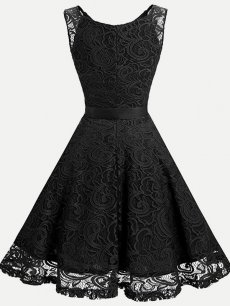 Vinfemass V-neck Lacing Bowknot Tank Lace Party Dress