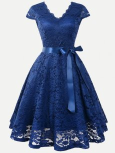 Solid V Neck Lace Overlay Dress