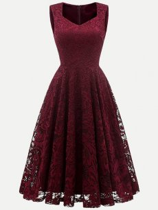 Vinfemass Square Neck Lace Solid Tank Party Skater Dress