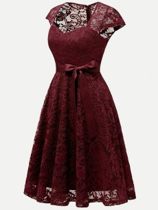 Guipure Lace A Line Dress