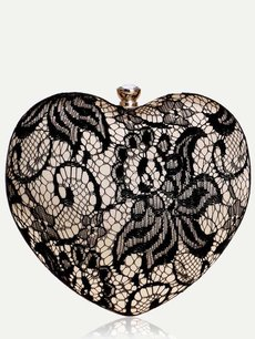 Lace Heart Shaped Chain Clutch Bag
