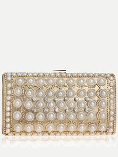 Glitter Pearls Clutch Bags With Chain