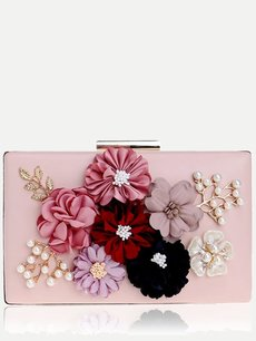 Flowers Pearls Decor Chain Clutch Bag