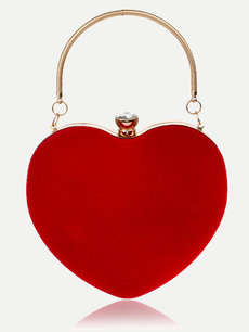 Solid Heart Shaped Chain Clutch Bag