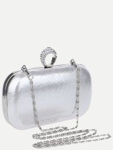 Solid Clutch Bag With Chain