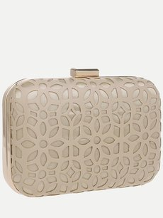 Vinfemass Solid Color Floral Hollow Decor PU Clutch Bag With Chain