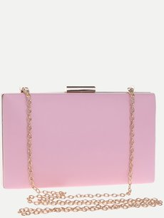 Vinfemass Solid Color Square Shape PU Clutch Bag With Chain