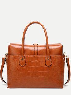 Solid Crocodile Pattern Tote Shoulder Bag