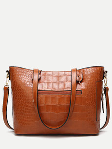 Crocodile Embossed Tote Large Shoulder Bag