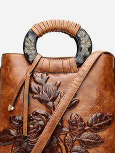Flowers Embossing PU Leather Shoulder Bucket Bag