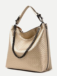 Solid Color Weave Shoulder Tote Bag With Chain