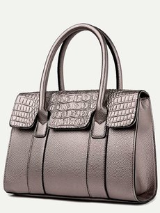 Crocodile Pattern Solid Color Shoulder Bag