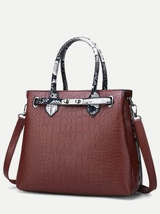 Crocodile Pattern Color Block Shoulder Bag