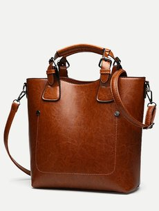Retro Solid Color Bucket Shoulder Bag