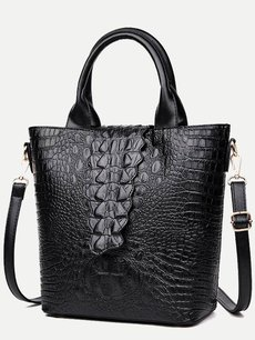 Crocodile Pattern Solid Simple Shoulder Bag