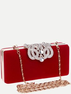 Solid Rhinestone Clutch Bags With Chain