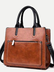 Retro Solid Color Front Pocket Shoulder Bag