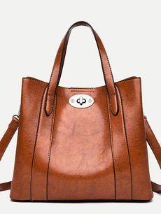 Solid Lock Decor Tote Shoulder Bag