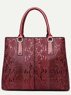 Snake Pattern Solid Color Shoulder Bag