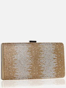 Rhinestone Color Block Glitter Clutch Bag With Chain