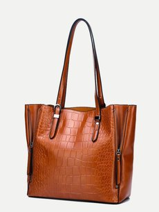Crocodile Pattern Solid Large Tote Shoulder Bag